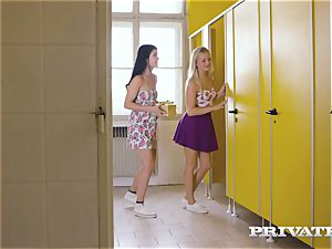 Private.com - girly-girl three way in the restroom