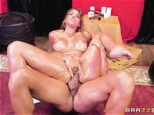 Oiley Mercedes Carrera plumbed humungous time by ginormous fuckpole
