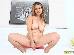 fat chesty chinese Lucy Page nails her poon with her dildo