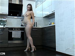 Russian hairy stunner drains in the kitchen