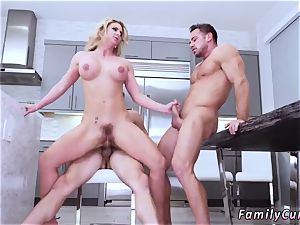 Russian nubile spunk guzzle first-ever time Army dude Meets big-titted Stepmom