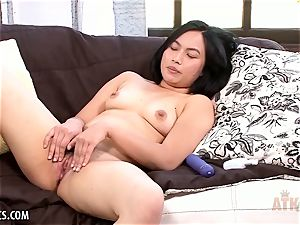 hairy asian opens up before her opens up her snatch