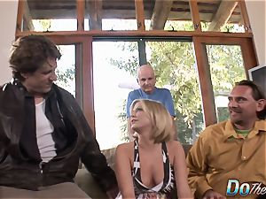 Housewife Lya pinkish uses her facehole and vag on schlong