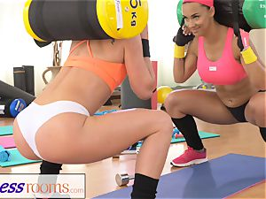FitnessRooms two sapphic gym buddies having a exercise