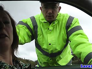Caught tugging mature tears up patrol cop