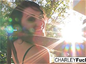 Charley gets her bang on out by her pool