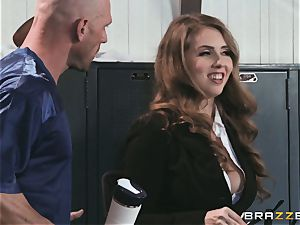big-titted news reporter Lena Paul pummeled in the locker apartment