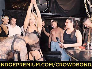 CROWD restrain bondage - Silicone bosoms ash-blonde naughty public hump