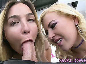 gulped two super-steamy blondes that enjoy to choke on a pipe