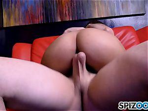 pillar dancing Sophia Leone choking on a ginormous pole man-meat