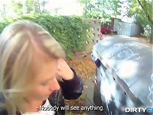 dirty Flix - platinum-blonde hotty tricked into outdoor fuck-a-thon