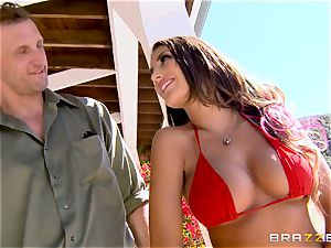 August Ames gets her globes creamed outdoors