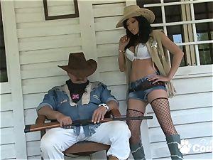 wild cowgirl showcasing her hefty bumpers